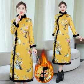 HT-N-B29-2056-3056新款复古气质立毛领长袖中长款印花夹棉旗袍裙TZF