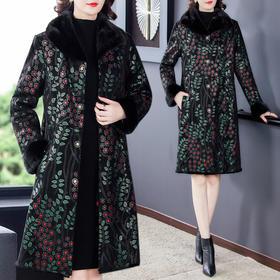 AHM-fls8827新款时尚优雅气质仿水貂毛领长袖中长款印花加厚大衣外套TZF
