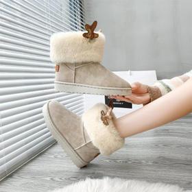 【为思礼】【颜值担当 冬天必备】松糕底短款雪地靴 保暖显瘦隐形增高。平底防滑时尚百搭短靴。