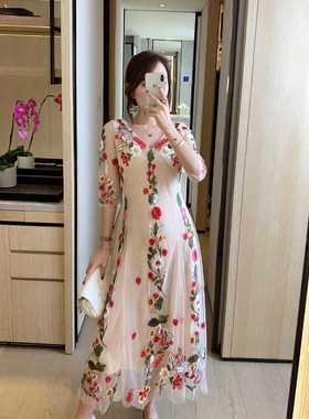 【不退不换】夏装新款显瘦收腰修身气质网纱中长款雪纺连衣裙