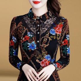 PDD-CLR201110新款时尚气质修身立领长袖印花加绒加厚保暖打底衫TZF