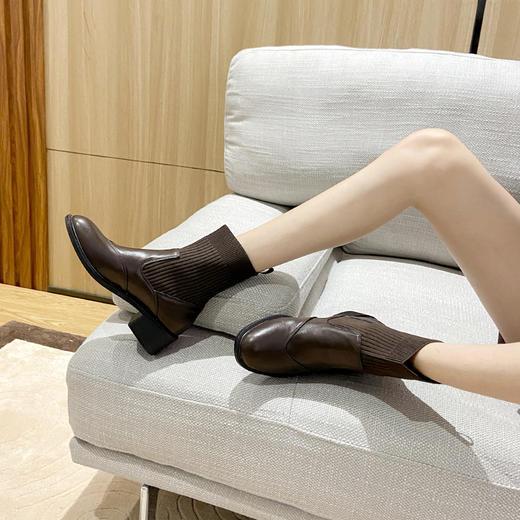「英伦风短靴」网红新款皮革拼接瘦瘦弹力袜靴 中跟粗跟马丁靴子高跟靴 切尔西短靴百搭增高显腿长 商品图9