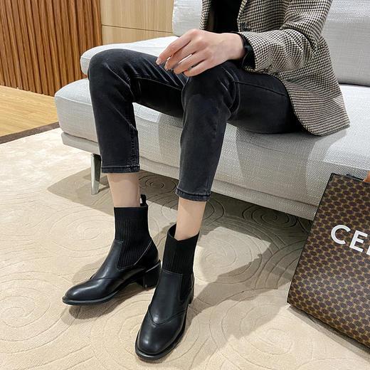 「英伦风短靴」网红新款皮革拼接瘦瘦弹力袜靴 中跟粗跟马丁靴子高跟靴 切尔西短靴百搭增高显腿长 商品图8