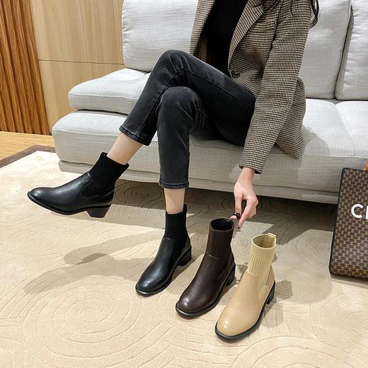 「英伦风短靴」网红新款皮革拼接瘦瘦弹力袜靴 中跟粗跟马丁靴子高跟靴 切尔西短靴百搭增高显腿长 商品图7