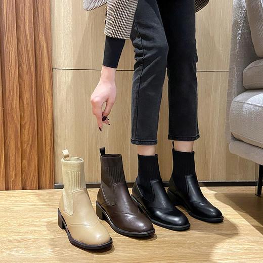 「英伦风短靴」网红新款皮革拼接瘦瘦弹力袜靴 中跟粗跟马丁靴子高跟靴 切尔西短靴百搭增高显腿长 商品图6