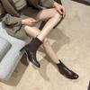 「英伦风短靴」网红新款皮革拼接瘦瘦弹力袜靴 中跟粗跟马丁靴子高跟靴 切尔西短靴百搭增高显腿长 商品缩略图3
