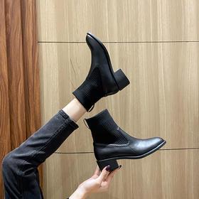 「英伦风短靴」网红新款皮革拼接瘦瘦弹力袜靴 中跟粗跟马丁靴子高跟靴 切尔西短靴百搭增高显腿长