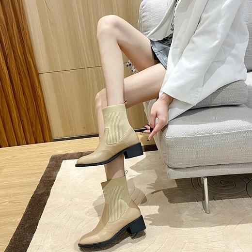 「英伦风短靴」网红新款皮革拼接瘦瘦弹力袜靴 中跟粗跟马丁靴子高跟靴 切尔西短靴百搭增高显腿长 商品图4