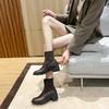 「英伦风短靴」网红新款皮革拼接瘦瘦弹力袜靴 中跟粗跟马丁靴子高跟靴 切尔西短靴百搭增高显腿长 商品缩略图11