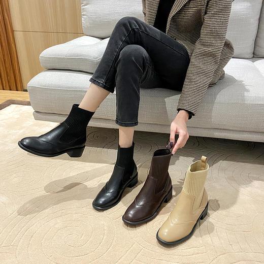 「英伦风短靴」网红新款皮革拼接瘦瘦弹力袜靴 中跟粗跟马丁靴子高跟靴 切尔西短靴百搭增高显腿长 商品图5
