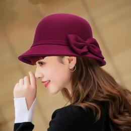 LWZM-YLT新款时尚名媛气质毛呢圆顶蝴蝶结保暖礼帽TZF