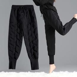 PDD-XDJ201118新款时尚气质休闲宽松高腰大码加绒加厚保暖棉裤TZF