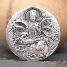 【中国金币】2021牛年护身佛生肖贺岁80克银章(45mm)
