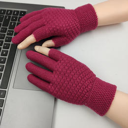 PDD-KMFFS201119新款冬季加绒保暖针织毛线漏指头手套TZF