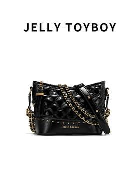 预售20天【徐杉专用】JTB包包女Lola菱格铆钉系列大容量流浪包时尚单肩斜挎包链条包