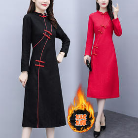 AHM-xxj5283新款中国风优雅气质加绒加厚中长款蕾丝连衣裙TZF