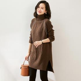 WLZD2028111新款时尚气质宽松高领长袖重工镶钻毛衣连衣裙TZF