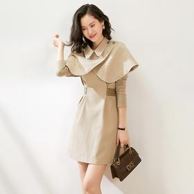 WLZD2028108新款潮流时尚气质毛呢连衣裙斗篷披肩两件套TZF