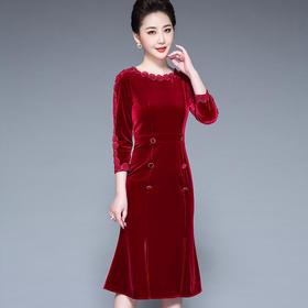 SLQ5516新款时尚气质修身显瘦圆领金丝绒重工盘花刺绣鱼尾包臀裙TZF