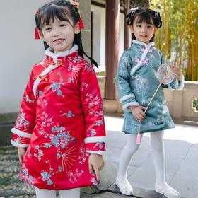 NFN2071新款复古优雅气质立领长袖加厚印花旗袍裙TZF