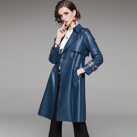 WLZD2020406新款时尚气质翻领长袖亮面中长款风衣外套TZF