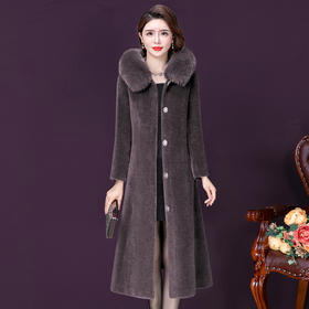 YMR8381新款优雅气质修身连帽中长款羊剪绒大衣外套TZF