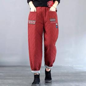 PDD-YQJ201123新款复古优雅气质宽松加厚夹棉保暖哈伦裤TZF