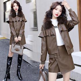 XP-CLYZ20129新款韩版时尚气质真毛领荷叶边加绒加厚短款pu皮夹克外套TZF