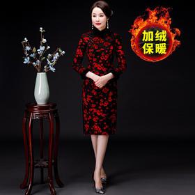 MQ-QP2230新款优雅气质修身立领长袖加厚加绒印花开叉旗袍TZF