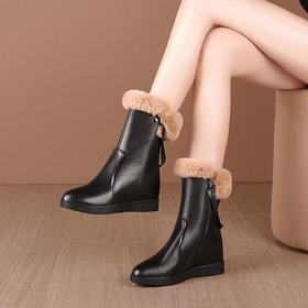 OLD774新款时尚气质牛皮羊毛内里加厚平底中筒棉靴TZF