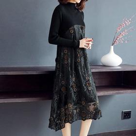 NYL308新款时尚优雅气质圆领长袖刺绣网纱拼接中长款连衣裙TZF