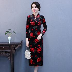 SLHY-XADGFH20EEEY新款优雅气质立领长袖印花中长款旗袍裙TZF