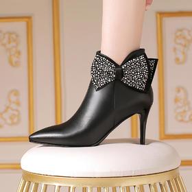 OLD-0E915新款时尚气质尖头水钻蝴蝶结细高跟短靴TZF
