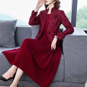 NYL8365新款时尚名媛气质修身西装外套中长款连衣裙两件套TZF