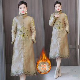 XYXZY2353新款民族风优雅气质獭兔毛领长袖加厚长款绣花棉服TZF