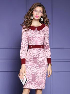 FMY33546新款时尚名媛气质修身娃娃领长袖印花包臀裙TZF