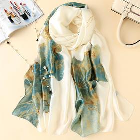 YHDZ新款时尚优雅气质百搭新丝缎印花长款丝巾TZF