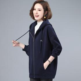 CQ-LYW8007新款时尚气质休闲连帽长袖加绒加厚连链开衫外套TZF