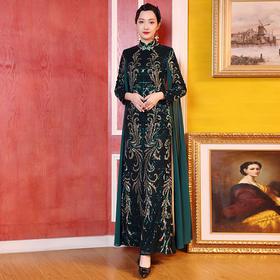 DLQ-A2737新款中国风优雅气质修身立领长袖钉珠亮片礼服裙TZF