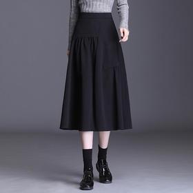 BD-F-B6591新款时尚气质高腰中长款百褶大摆半身裙TZF
