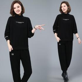 CQ-LYW801新款时尚气质高领长袖加绒加厚刺绣卫衣裤子两件套TZF