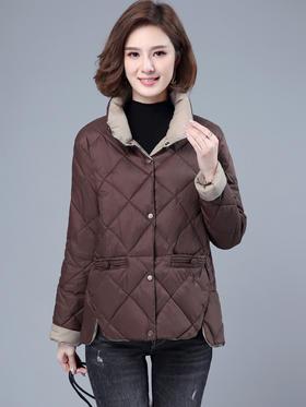 CQ-LYW8012新款时尚气质百搭翻领长袖纯色短款棉衣外套TZF