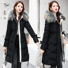 HRFS-WY60069新款潮流时尚气质修身毛领连帽中长款棉服外套TZF