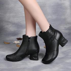 OL188新款复古民族风优雅气质真皮压花圆头粗跟短靴TZF