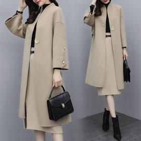 SWYC新款时尚气质休闲毛呢大衣外套半身裙两件套TZF