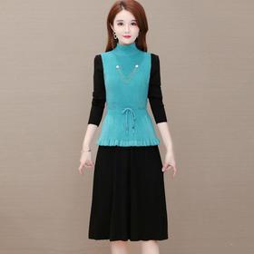 YWE-MY-M20812新款优雅气质修身背心针织长袖连衣裙两件套TZF