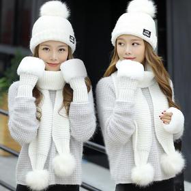 XMDZ-WL066新款潮流时尚休闲百搭加绒围巾手套针织毛线帽三件套TZF