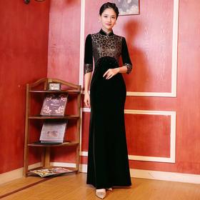 DLQ-A2756新款时尚名媛气质修身立领七分袖丝绒印花长款礼服裙TZF