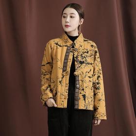 HT-XJM-D032-3206新款民族风优雅气质宽松立领长袖棉麻印花短款棉衣外套TZF