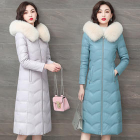 NQS-Q212新款优雅气质修身大毛领中长款加厚绵羊皮羽绒服外套TZF
